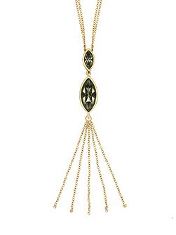 Gold Plated Crystal Tassle Necklace