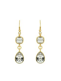 Gold Plated Clear Crystal Drop Earrings