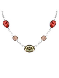 Rhodium Plated Muti Crystal Necklace