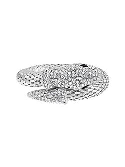 Rhodium Plated Crystal Wrap Snake Bangle