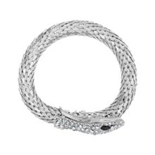 Aurora Flash Rhodium Plated Crystal Wrap Snake Bangle