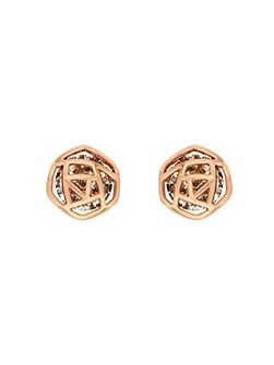 Rose gold plated hexagon earrings