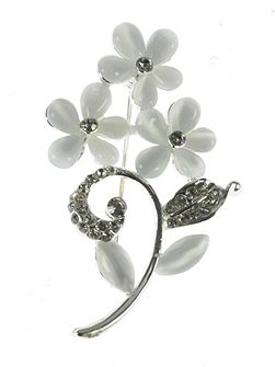 White resin flower brooch