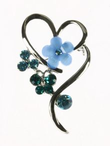 Heart,flower and butterfly brooch