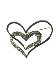 Indulgence Jewellery Silver and crystal double heart brooch