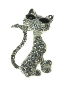 Indulgence Jewellery Crystal cat brooch