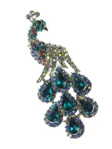 Indulgence Jewellery Aqua crystal peacock brooch