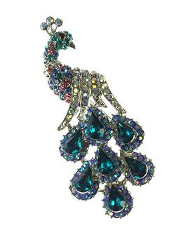 Aqua crystal peacock brooch