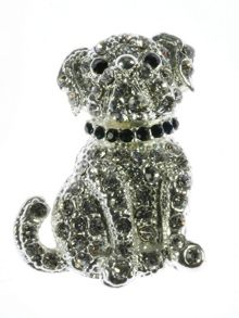 Indulgence Jewellery Crystal dog brooch