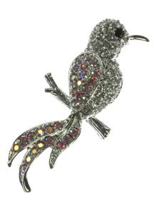 Indulgence Jewellery Bird brooch with rainbow crystals