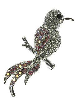 Bird brooch with rainbow crystals