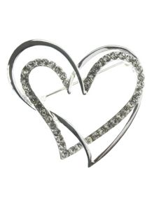 Indulgence Jewellery Crystal double heart brooch