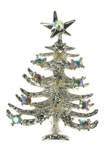 Indulgence Jewellery Silver pated Christmas tree brooch