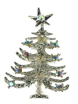 Silver pated Christmas tree brooch