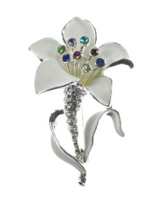 Indulgence Jewellery White and multi crystal lily brooch