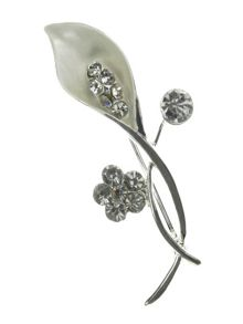 Indulgence Jewellery Marble white and crystal lily brooch