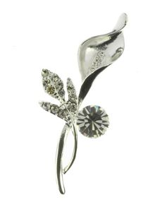 Indulgence Jewellery Silver and crystal lily brooch