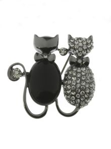 Indulgence Jewellery Gunmetal and crystal two cats brooch