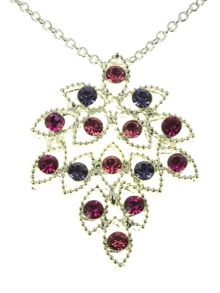 Indulgence Jewellery Silver rose & purple crystal pendant