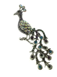Indulgence Jewellery Antique silver peacock brooch