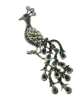 Antique silver peacock brooch
