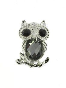 Indulgence Jewellery Silver,crystal,black owl brooch