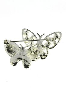 Indulgence Jewellery Silver,crystal two butterflies brooch