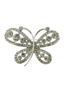 Indulgence Jewellery Silver/crystal butterfly brooch