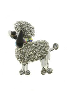 Indulgence Jewellery Silver and crystal poodle brooch
