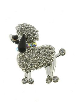 Silver and crystal poodle brooch