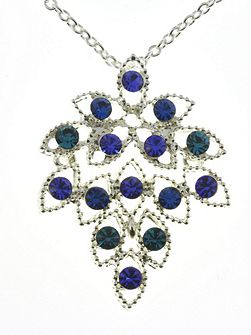 Indulgence blue crystal leaf pendant