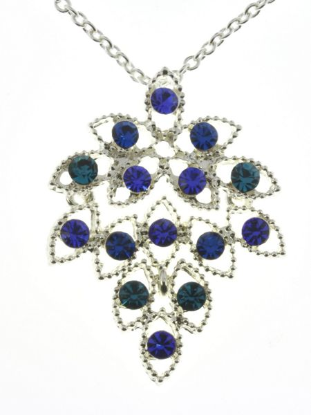 Indulgence Jewellery Indulgence blue crystal leaf pendant