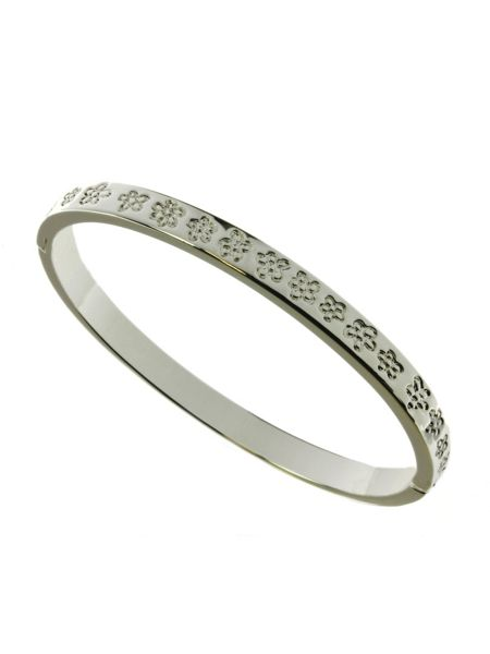 Indulgence Jewellery Silver plated etched flower bangle