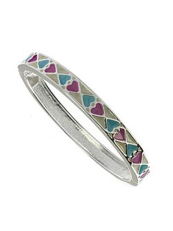 Cream, pink and blue oval bangle