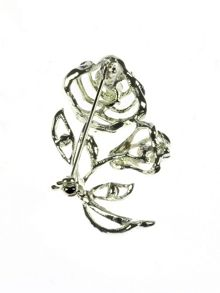 Indulgence Jewellery Silver crystal rose brooch