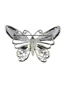Indulgence Jewellery Rhodium crystal green butterfly brooch