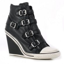 THELMA wedge buckle leather trainers