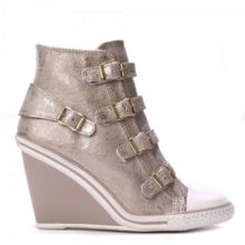 THELMA wedge metallic leather trainers