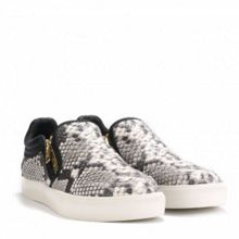 INTENSE cobra print leather trainers