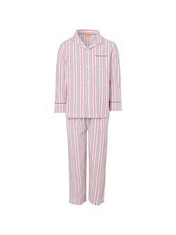 Boys Red and Grey Stripe Pyjama Set