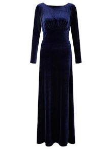 Navy rafaella long sleeve velvet dress