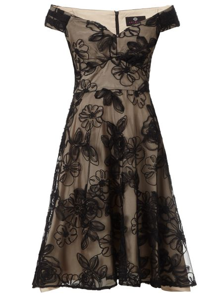 Ariella Black champagne nova prom short dress