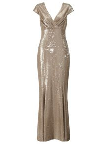 Ariella Gold venetia sequin long dress