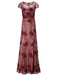 Claret nude clair embellished lace long dress