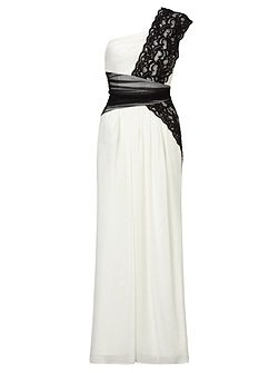 Black white lace and chiffon long dress