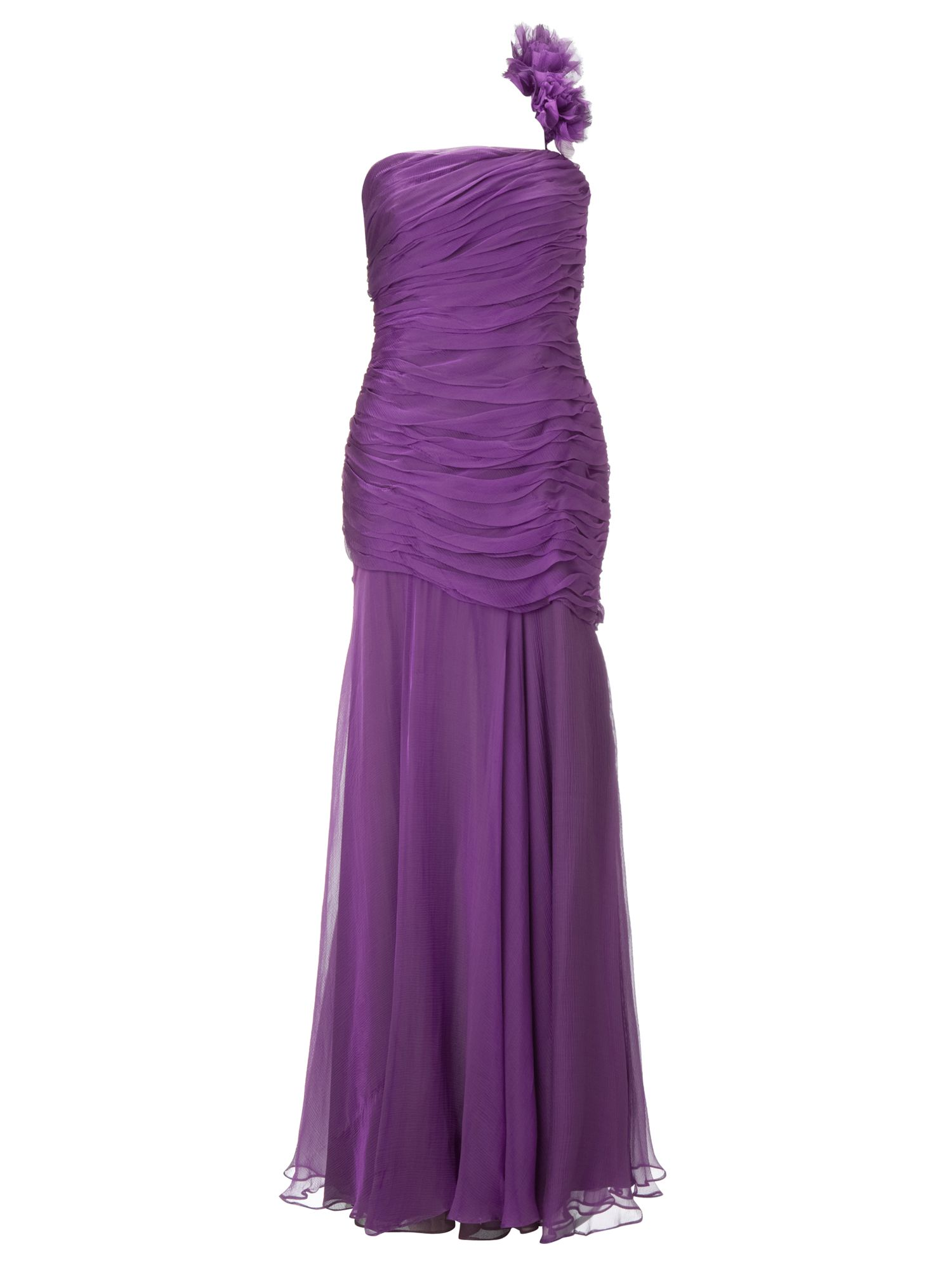 Ariella Purple selena silk chiffon long dress, Purple