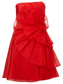 Ariella Red amelia silk organza short dress