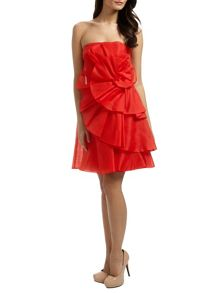 Red amelia silk organza short dress