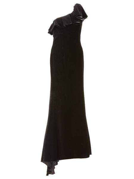 Ariella Black androulla velvet long dress
