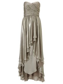 Ariella Silver ivy strapless metallic chiffon dress